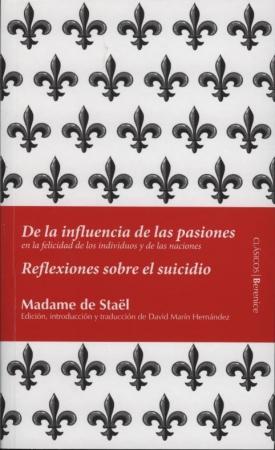 Portada del libro De la influencia de las pasiones. Reflexiones sobre el suicidio